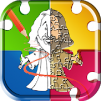 Bible coloring pages & jigsaw