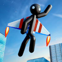 Flying Hero Stickman Criminal City