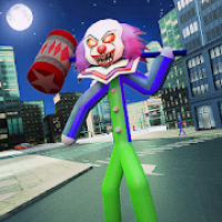 Scary Clown Stickman City Attack