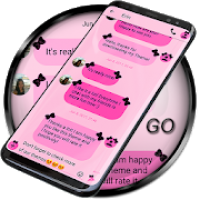 SMS Theme Ribbon Black: pink text messages chat
